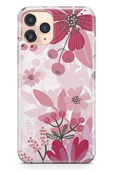 Lopard İphone 11 Pro Kılıf Silikon Arka Kapak Koruyucu Pembe Kırmızı Bahar Desenli Full HD Baskılı Renkli